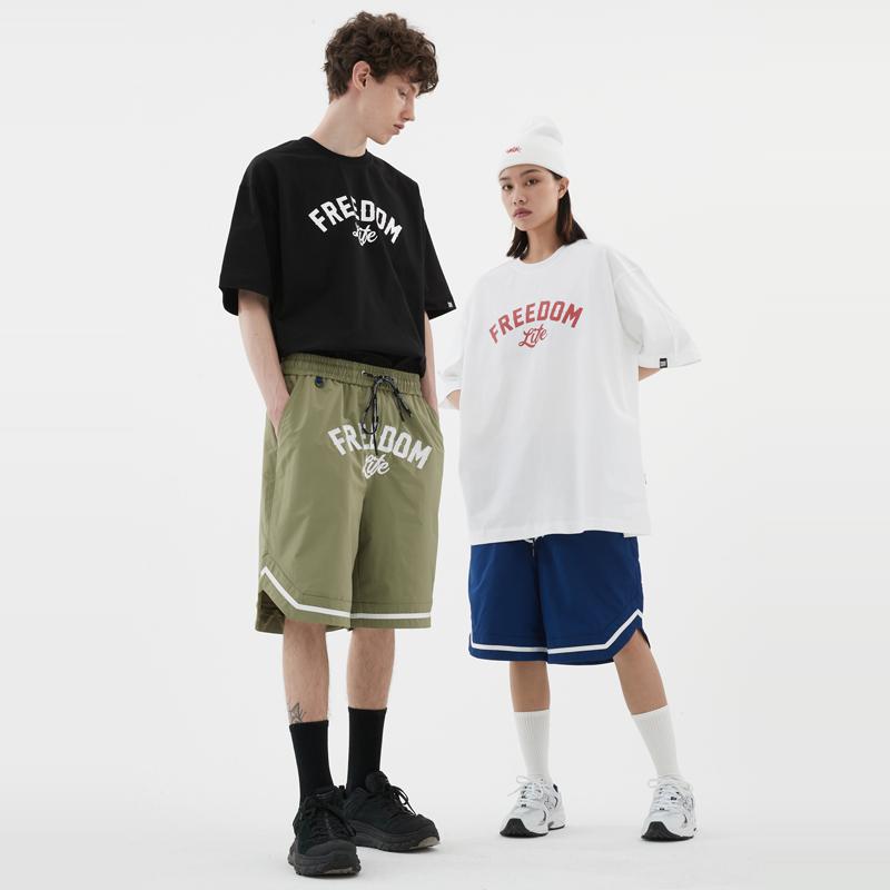 街头HIPHOP简约FREEDOM街舞popping滑板bboy宽松小领口短袖T恤潮