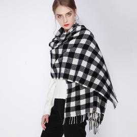 新工艺 色织格子 千鸟格秋冬季女中厚流苏羊毛围巾披肩两用