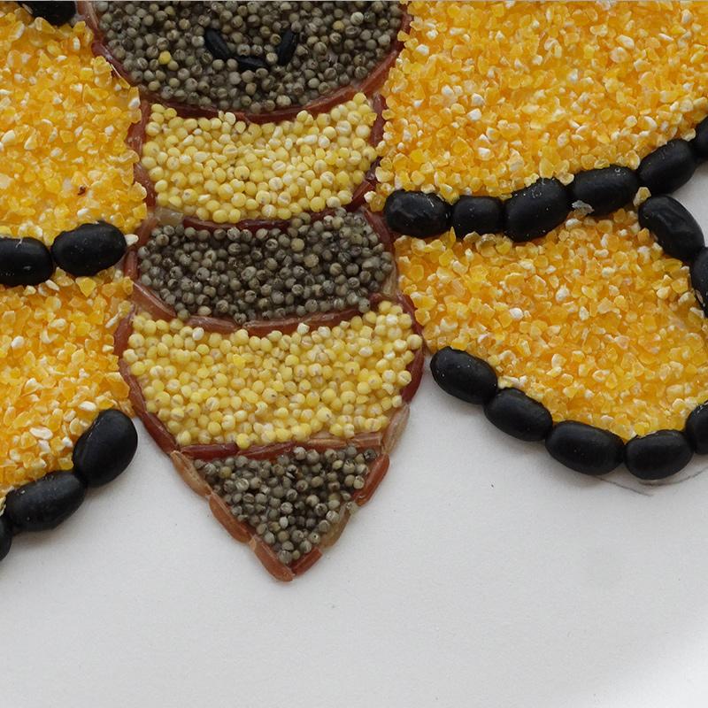 种子贴画_盘子种子贴画 小蜜蜂 种子画 diy 天下第香五谷杂粮粘贴画手工