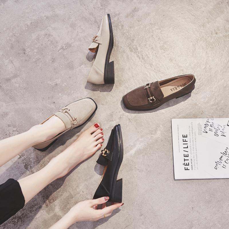 新款中跟两穿乐福鞋 2019 绒面方头小皮鞋粗跟单鞋女中口 鞋夫人