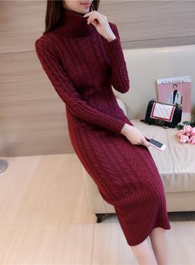 秋冬山羊绒加厚连衣裙女针织套头过膝毛衣高领羊绒裙修身显瘦长裙