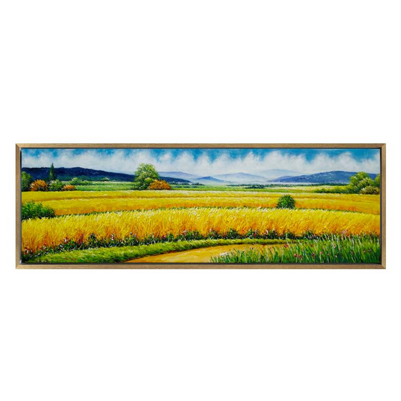 現代簡約客餐廳裝飾畫金黃色麥田豐收橫版掛畫純手工手繪油畫定制