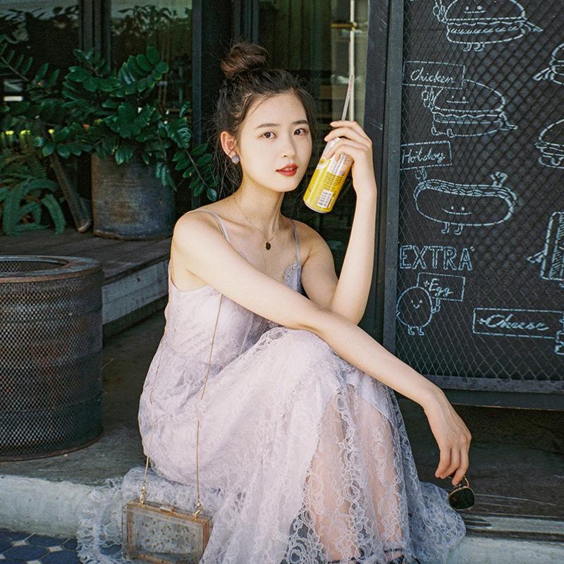 梅子熟了很仙的法国小众桔梗裙复古蕾丝吊带连衣裙仙女裙夏2019