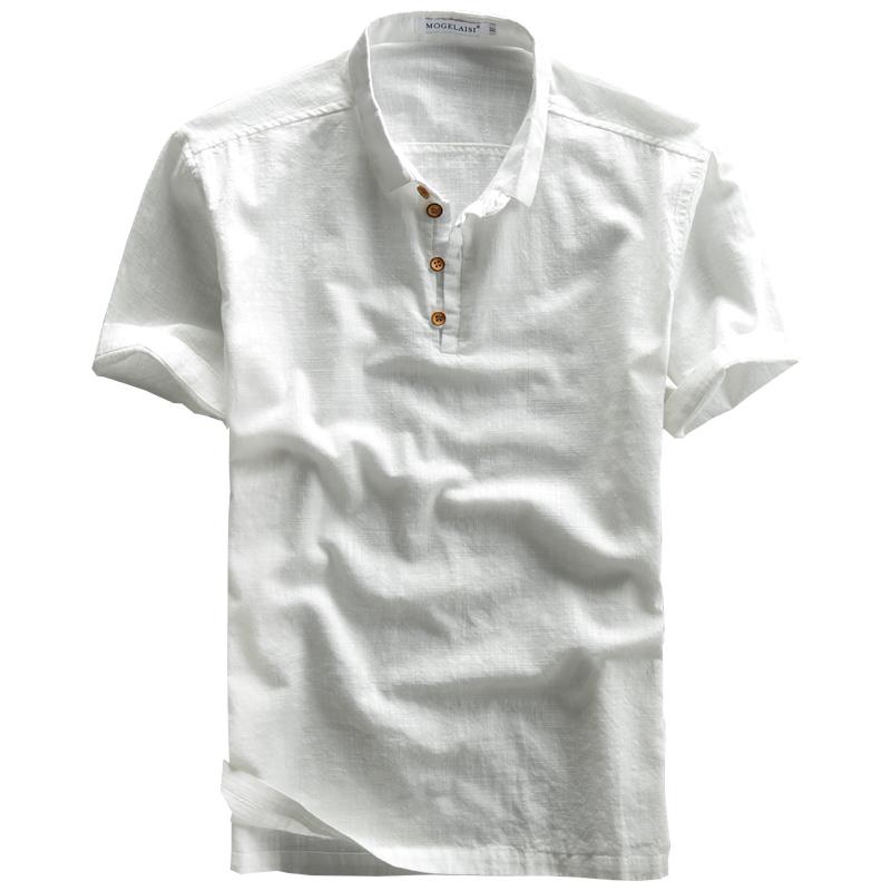 2019夏季男新款亚麻衬衫棉麻复古透气套头轻薄麻布T恤男短袖衬衣