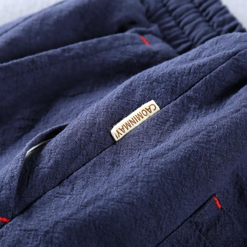 新款夏季男士休闲亚麻料九分裤纯色松紧薄款棉麻布中国风高脚裤子