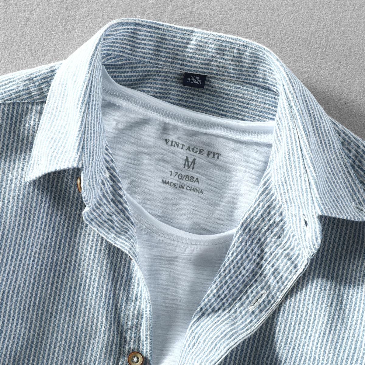 秋季新款男士休闲衬衣长袖翻领简约条纹纯棉水洗打底外穿