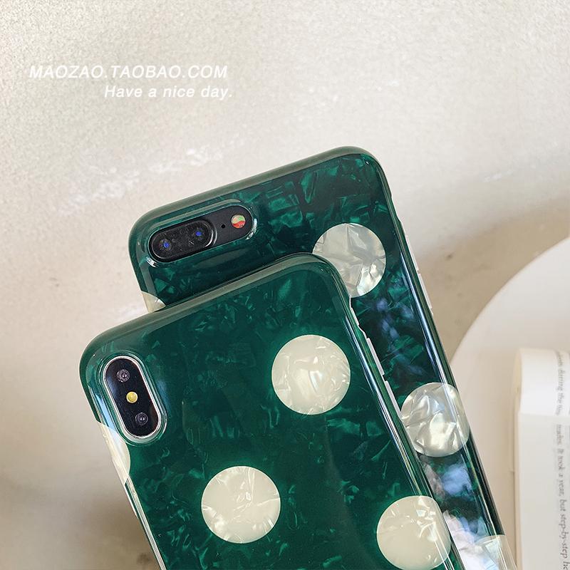 贝壳纹祖母绿波点iPhone xs max手机壳7P苹果x硅胶6S复古8plus XR