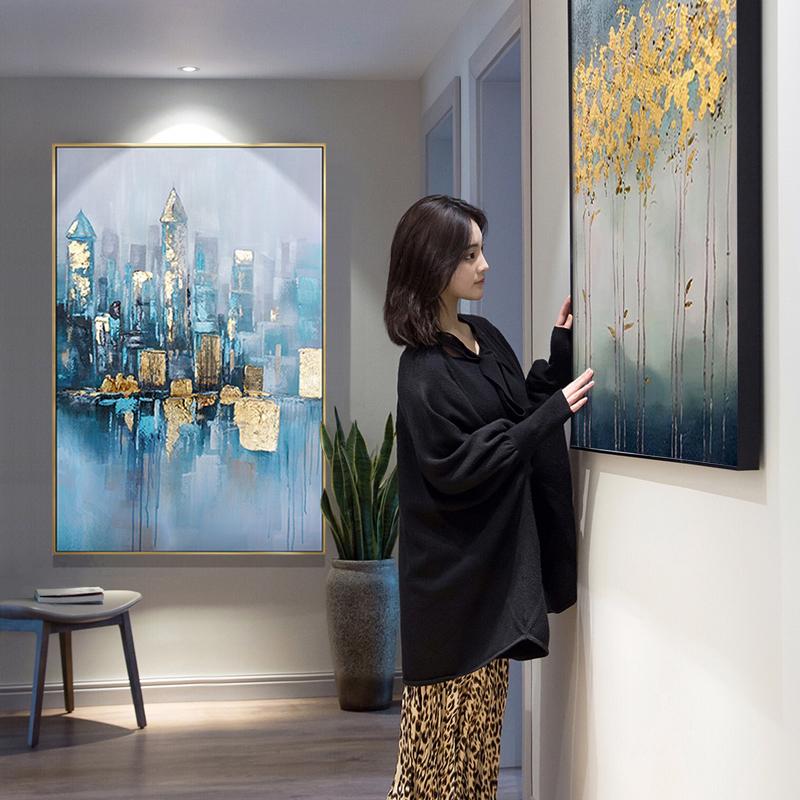 纯手绘油画玄关走廊竖版装饰画客厅餐厅抽象轻奢大气挂画浪漫之城