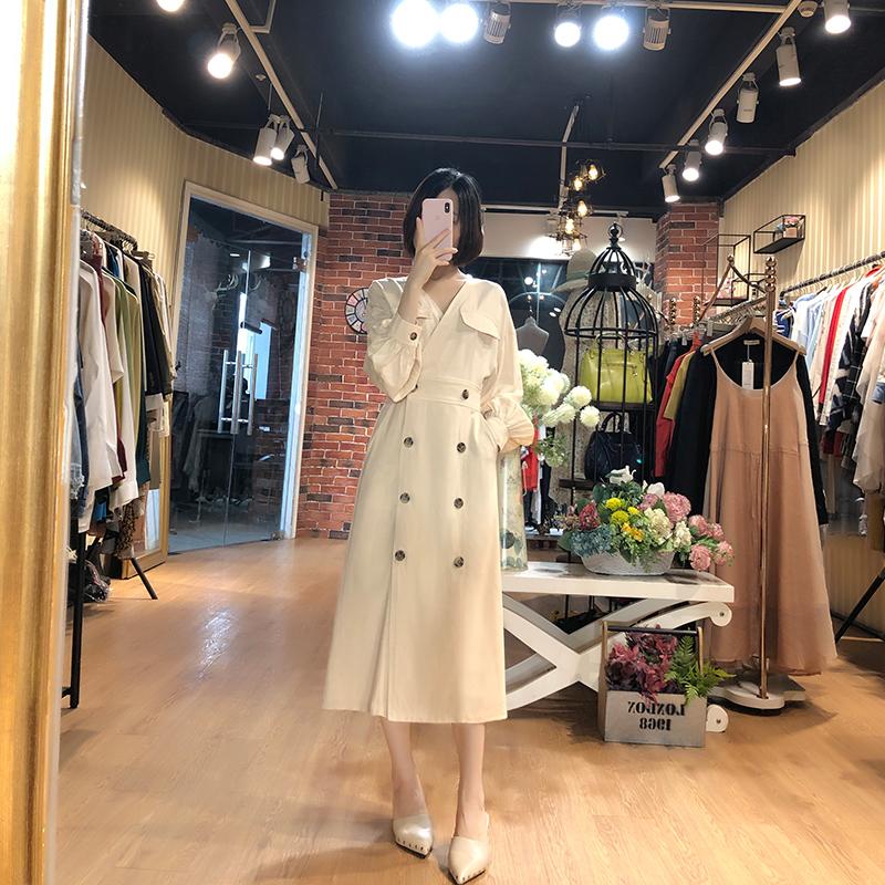 幼瓷法式小众复古高腰长袖连衣裙女V领双排扣早秋季中长款衬衫裙