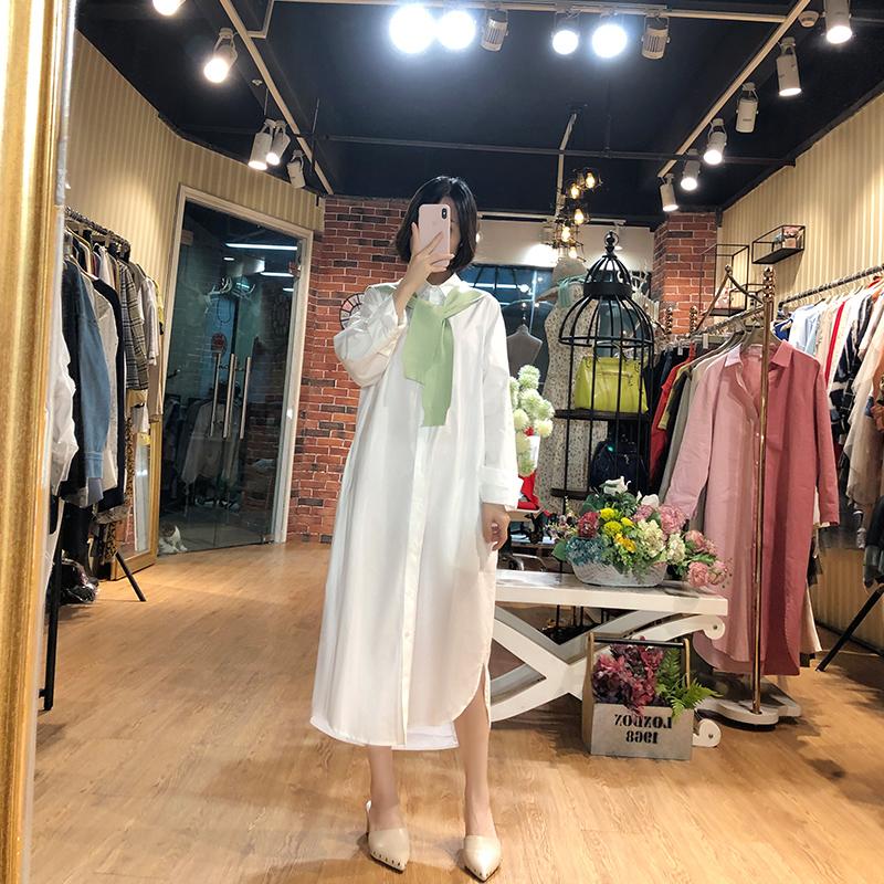 幼瓷早秋新款韩版单排扣中长款休闲气质长袖衬衫连衣裙披肩两件套