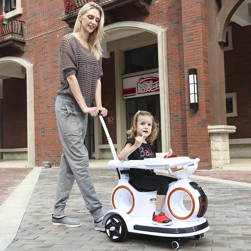 儿童电动手推车婴儿男女宝宝可坐四轮带遥控玩具车小孩摇摆车汽车
