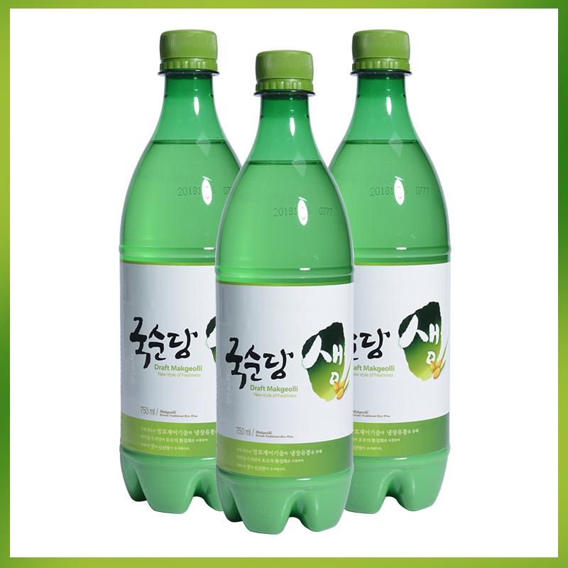 瓶 x3 750ml 醇堂韩国玛克丽进口醪糟汁男女士生米酒绿米酒低度酒
