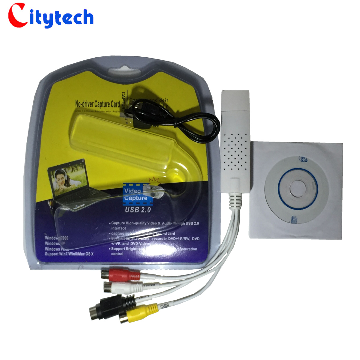 USB采集卡免驱动采集棒 机顶盒DVD电视AV音视频卡DV模拟转数字UVC