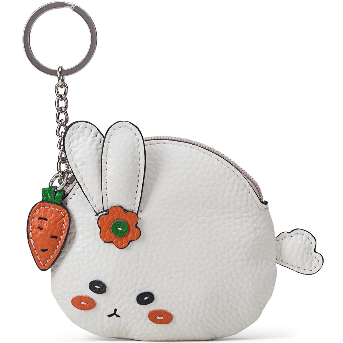 半坡真皮零钱包新款时尚实用包包挂件可爱兔子钥匙扣小钱包女