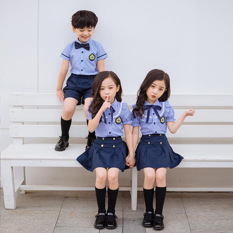 小学生校服套装夏短袖中学生英伦学院风儿童毕业照幼儿园班服园服