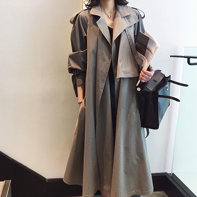 2019  外套 chic lulu 超长款过膝卡其色风衣女中长款 秋装新款宽松港风