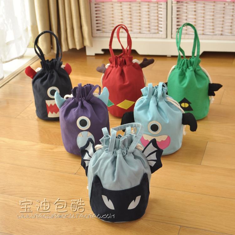 日韓原創抽繩布藝束口手拎包手提包小布包棉布隨身包手腕女包