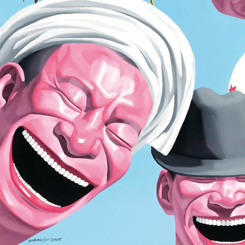 現代裝飾畫玄關掛畫中國當代藝術油畫人物版畫 岳敏君 帽子系列