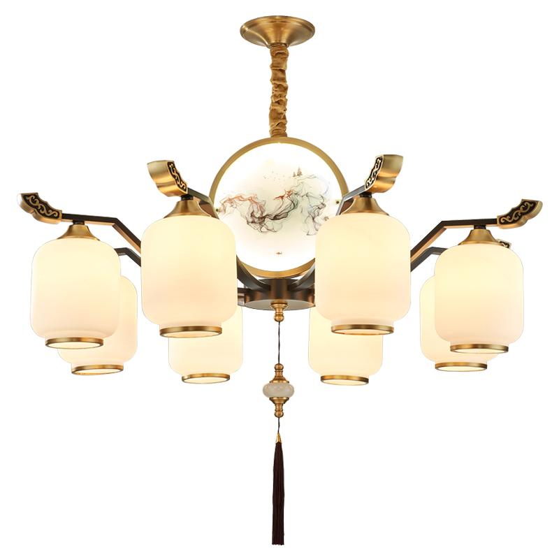 新中式全铜吊灯中国风禅意客厅餐厅卧室大厅复式楼个姓大气灯具
