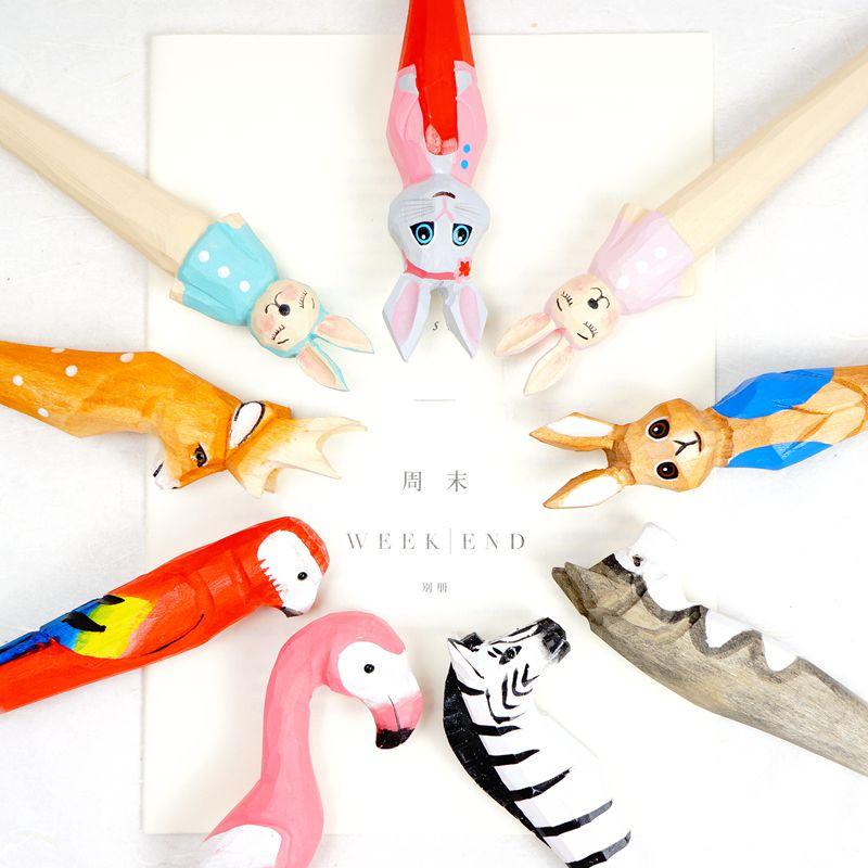 素念包邮文具可爱手工木雕笔实木动物笔创意文艺圆珠笔水笔礼物