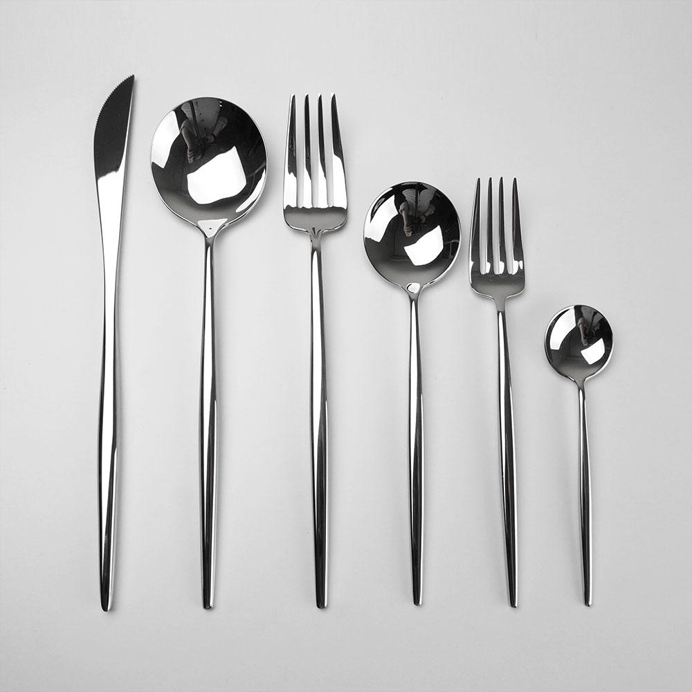 妙HOME 鏡面拋光葡萄牙不鏽鋼西餐餐具套裝牛排刀叉勺三件套家用