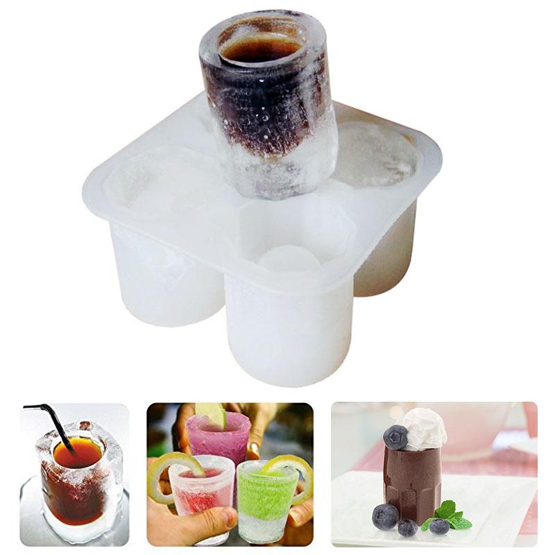 四孔冰杯創意DIY矽膠冰格模具冰箱凍大冰塊酒吧兌酒製冰器包郵