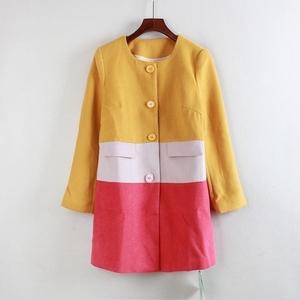 BK冬季2016新款女装外套单排扣长袖撞色圆领呢子大衣Y10431