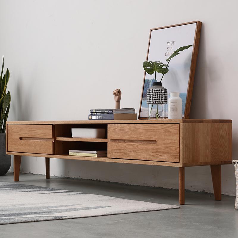 日式電視櫃簡約 全實木電視機櫃子 小戶型客廳傢俱 白橡木電視桌