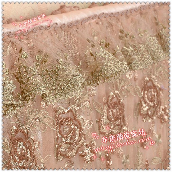 包邮 博文布艺品牌高档欧式刺绣47525565寸电视机罩防尘套金玫瑰