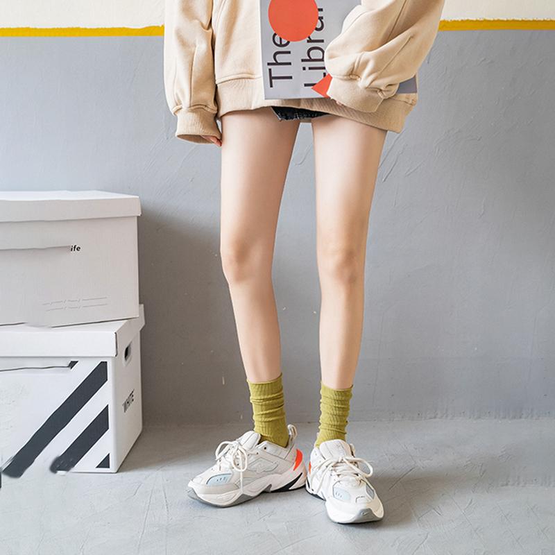 坚果妈咪 长筒堆堆袜子女夏季薄款ins潮韩国夏天日系天鹅绒中筒袜 No.4