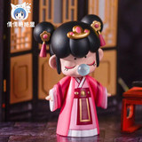 Blind box on the eve of the eve of the night, Nanci囡茜 Chinese ancient woman's illustration, nose, bubble, dolls