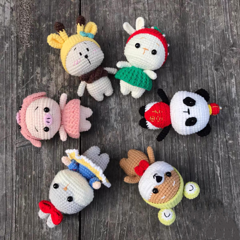 萌宠动物兔子熊猫柴犬猪熊材料包 手工毛线编织玩偶 diy 湖州姑娘