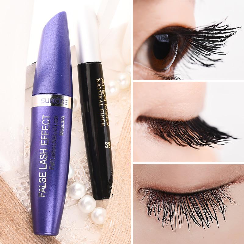 正品黑色睫毛膏嫁接纖長濃密效果防水不暈染雙管睫毛膏液組合