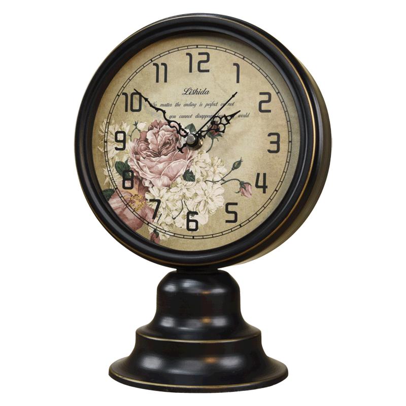 歐式復古時尚桌面鍾美式鄉村檯鐘北歐臥室床頭靜音座鐘懷舊時鐘表
