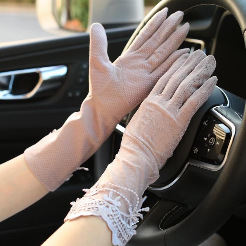 弹力薄款女士开车防滑袖套春秋中长款蕾丝手套触屏手臂套夏季防晒