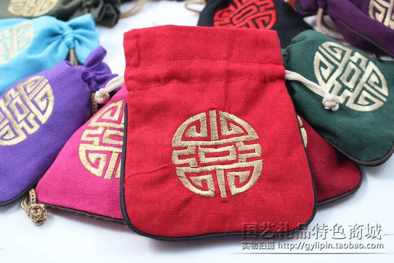 中国式棉麻零钱包 拉抽口袋布袋 小礼品袋 团福刺绣 中国婚庆礼物