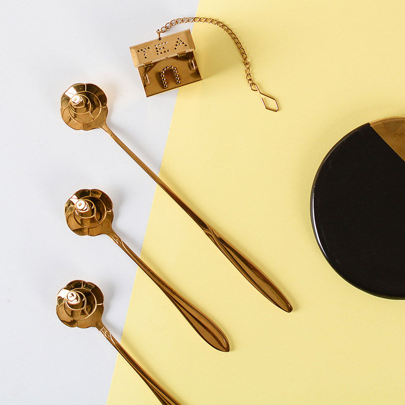 四福 咖啡勺子 陶瓷攪拌勺不鏽鋼小奶茶勺果粉勺杯勺創意可愛