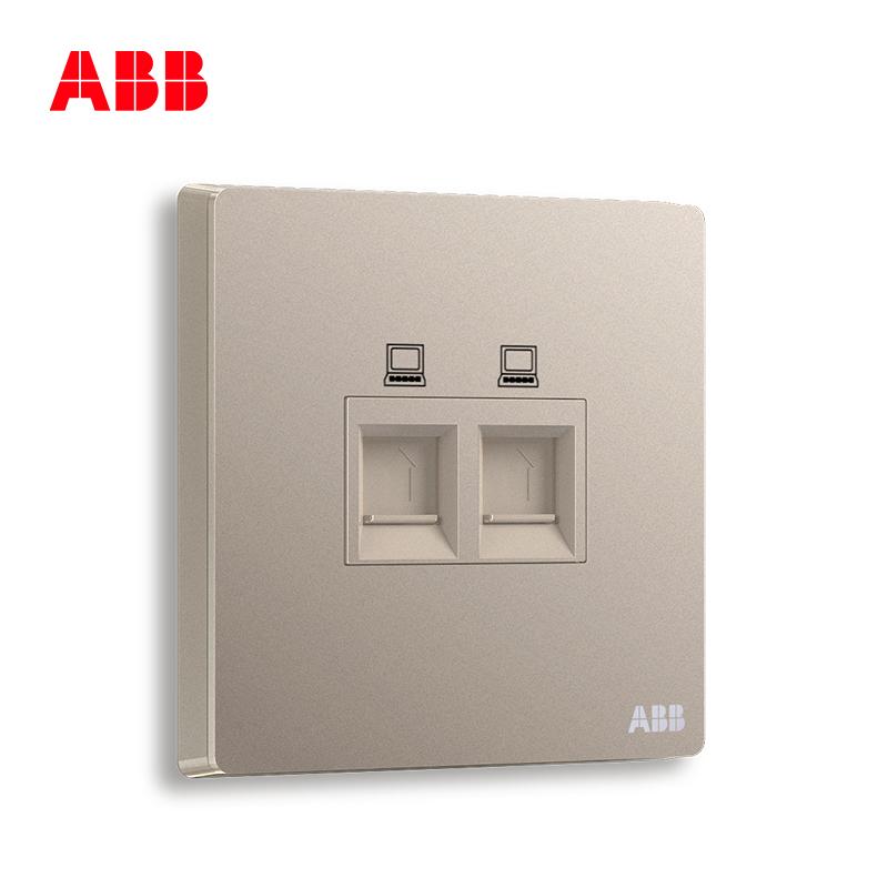 ABB开关插座面板家用二位电脑插座网线网络接口轩致金色AF332-PG