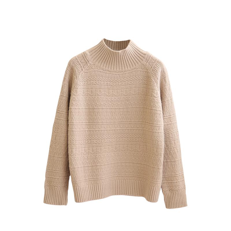 chic风2018冬季新款加厚半高领毛衣女宽松复古立体针织衫羊毛衫套