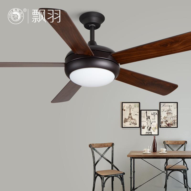 黑色木葉吊扇燈簡約時尚現代電扇燈客廳餐廳風扇燈帶燈吊扇吊燈