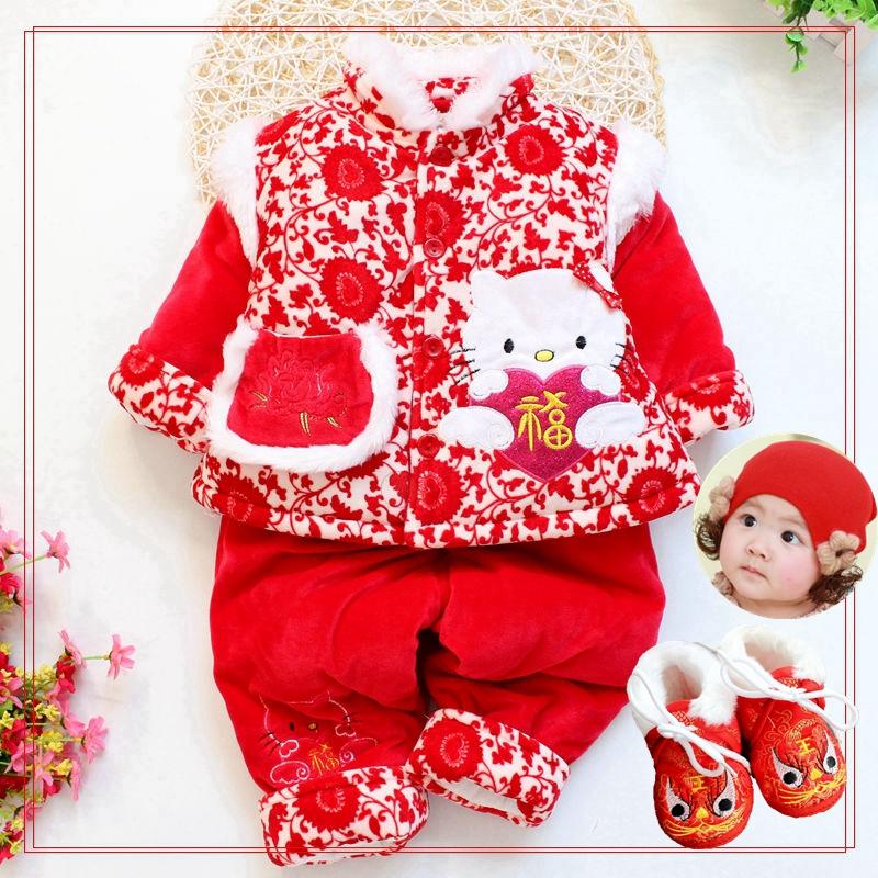 童装女童唐装套装冬装2019中国风女宝宝加棉衣婴儿百天周岁过年服