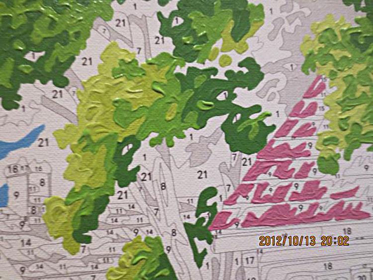 diy数字油画客厅餐厅风景情侣卡通花卉装饰画40x50加厚框