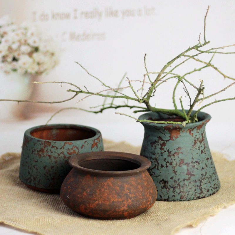 [沐年]磨砂粗陶多肉花盆陶土大口徑老樁羅馬風復古盆個性擺件花瓶