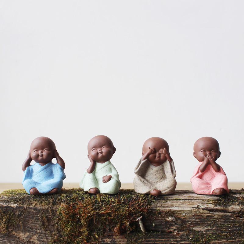 创意新中式小和尚紫砂禅意家居树桩装饰饰品茶具配件茶宠摆件精品
