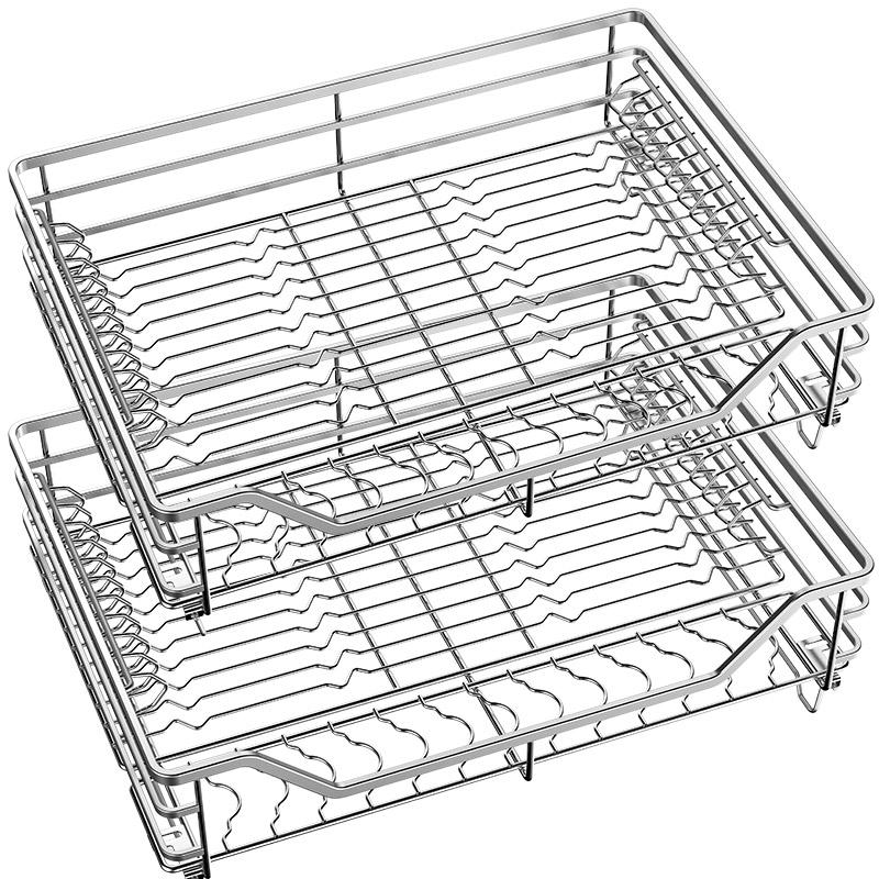 不銹鋼廚房拉籃雙層抽屜式碗架地柜調味碗籃收納 304 拉籃廚房櫥柜