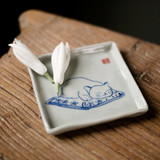 Hand-painted blue and white fat cat home run saucer cup holder coasters kitten illustration refreshment refreshments dish plate ceramic coasters