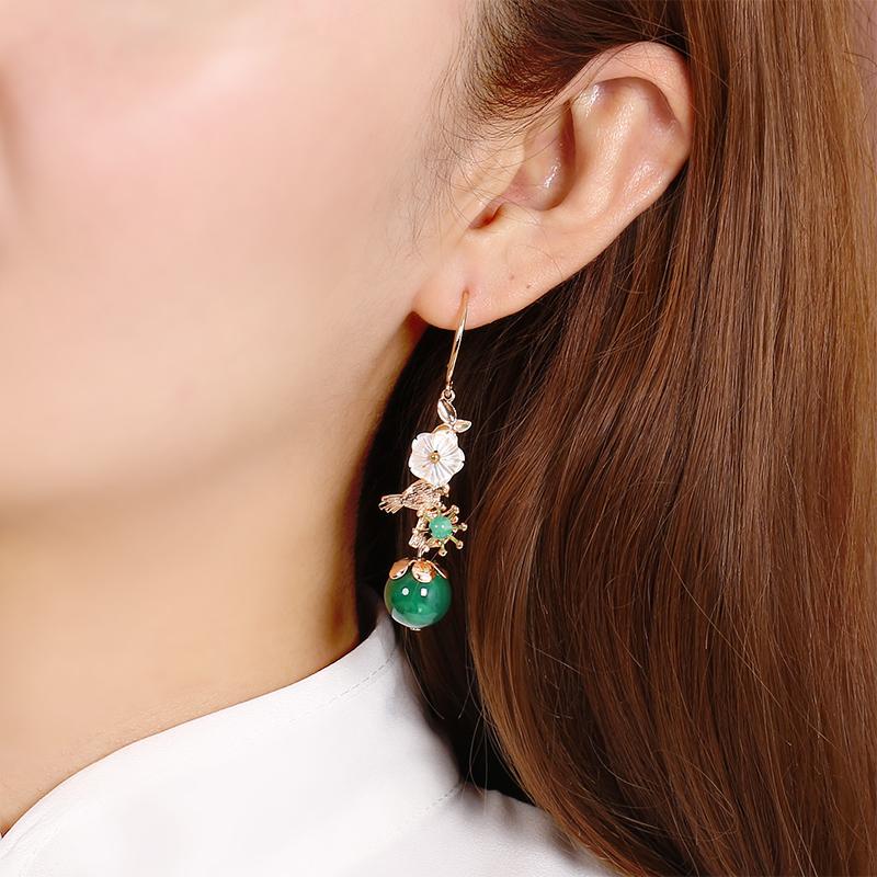 民族风纯银长款耳环古风耳坠韩国气质复古中国风穿旗袍配的耳饰女