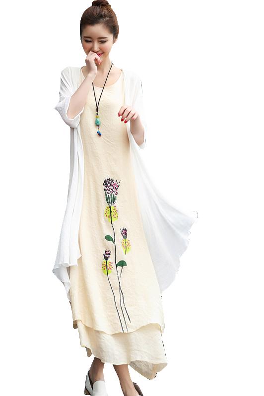 民族风棉麻长裙中长款2019显瘦文艺两件套女大码连衣裙亚麻棉套装