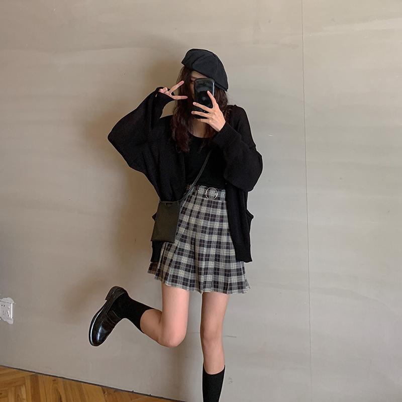 红人馆学院风格子半身裙女2020年夏季新款学生高腰a字百褶裙短裙主图