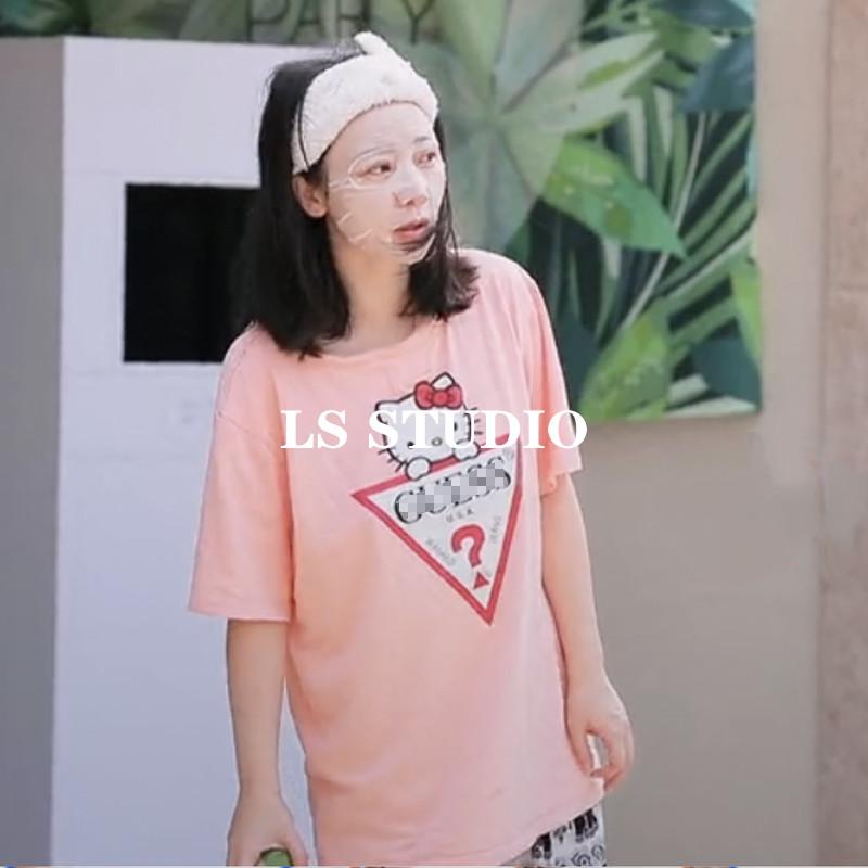 让生活好看柳岩同款衣服女hlleo kitty字母印花粉色T恤短袖上衣夏